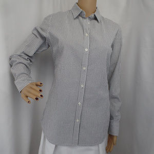 GRAY STRIPPED BUTTON UP CAREER CASUAL BLOUSE SHIRT